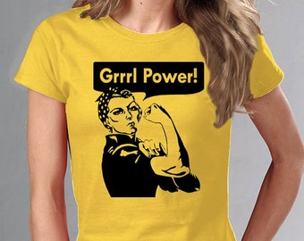 Grrrl Power t-shirt ROSIE THE RIVETER Feminism Girl Power Feminist Riot Girl
