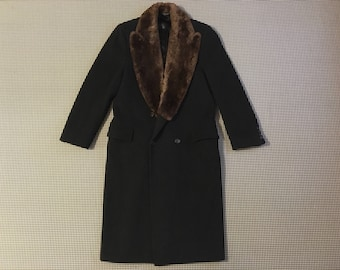 1990's, double breasted, long wool coat, in charcoal, with brown, fur collar, by Mark Shale, Men's size Medium/Large
