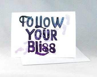 Follow Your Bliss, Encouragement Card, Inspirational Card, Positive Vibes, Nursery Decor, Positive Word Art, Zentangle Letter Art 1238A