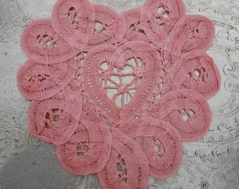Pink Battenburg Lace Doilies