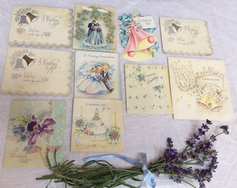 Vintage Supply Lot of 10 Used Bridal Shower Cards, Collage, Scrapbooking, Journaling, Card Making, Shabby Chic, 1940's