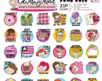 50%off June 2018 Wacky Holidays Clipart, Original Digital clipart, Hand Drawn wacky goodnotes clipart, June Holiday art,personal use digital