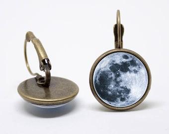 Full moon earrings Lunar jewelry Moon earrings Moon jewelry Lunar earrings Moon jewellery Gift for wife Grey moon earrings Birthday gift