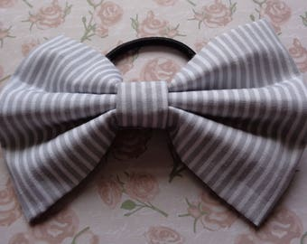 Grey And White Stripe Print Fabric Hair Bow