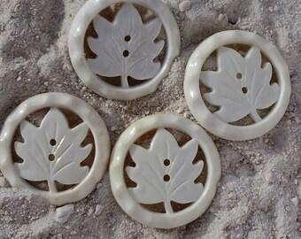 4 White Vintage Leaf Buttons