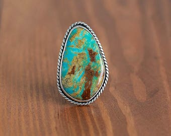 High Grade King's Manassa Turquoise Ring, Sterling Silver Ring - Size US 8