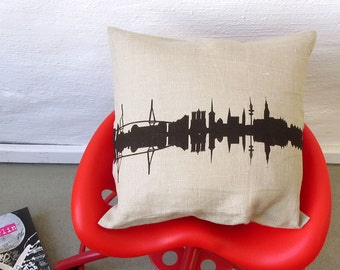 HAMBURG natural Linen Screen Printed Pillowcase - Throw Pillow Cushion Cover - City Skyline- handmade by 44spaces