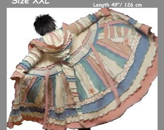 elf coat, fairy coat, grey coat, patchwork coat, gypsy coat, hippie coat, boho coat, size XXL, dream coat