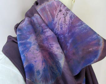Purple Silk Shibori Scarf