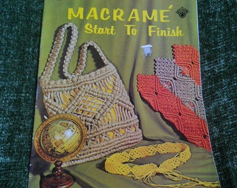 1971 Macrame Start to Finish  Craft Course Book  H-193
