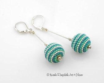 Teal Beaded Earrings - Handmade, Rounds, Drops, Leverback, Dangle, Silver