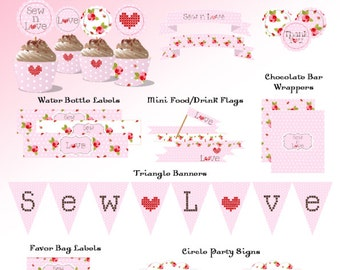 Sewing Party Printables - PERSONALIZED Bridal Shower, Mothers day , Baby Girl Shower-Sew n Love