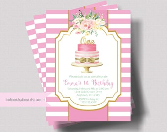 FIRST BIRTHDAY INVITATION For Girl   1st Birthday Invitation Pink and Gold Glitter   Watercolor Floral Birthday Invite   Shabby Chic   Boho