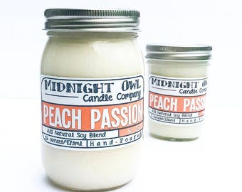 Peach Passion Mason Jar Candle - 8oz or 16oz- Strongly Scented -Midnight Owl Candle Co.
