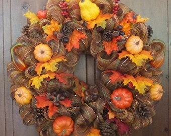 Fall Wreath-Autumn Wreath with Autumn Leaves, Pumpkins, Gourds, Acorns, Pine Cones and Berries-Fall Multi Color Deco Mesh Wreath