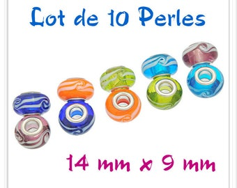 Set of 10 assorted 14 mm x 9 mm Lampwork Glass Beads