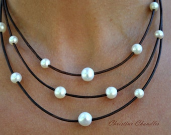 Leather and Pearl Necklace - 3 Strand Necklace - Pearl and Leather Jewelry Collection