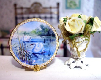 Elegant Swan Miniature Plate for Dollhouse 1:12 scale Collectible