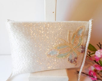 White Beaded Evening Bag, Vintage Evening Bag,  Pearl and Sequin,Pink Green Trim,   Beaded Clutch Bag Wedding Bridal EB-0048