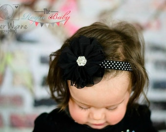 Chiffon Black White Polka Dots Elastic Headband - Baby Newborn Infant Toddlers Girls Women