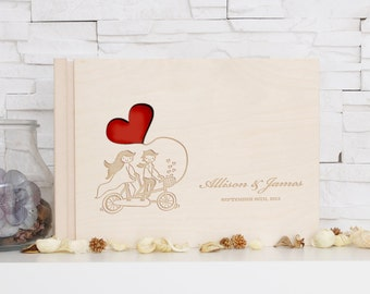 Rustic Wedding Guest Book Bicycle Heart Engraved Wooden Memory Book