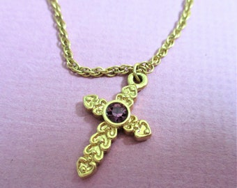 Avon Cross Pendant Necklace Gold Tone Amethyst Glass Stone Pendant Vintage Religious Necklace Cross and Chain Marked Avon  GCP4