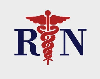 "RN Medical Symbol embroidery file in Multiple formats in sizes (2"", 2.5"", 3"" and 3.8"") - INSTANT DOWNLOAD - Item # 2068"