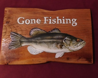 Gone Fishing Large Mouth Bass; Rustic Sign; Barn wood; Fish; Large mouth bass