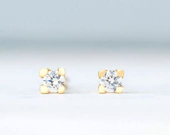 Solid Gold Tiny CZ Earrings Dainty solid 14k Square Prong set cubic zirconia post earrings gift for her womens gift for wife