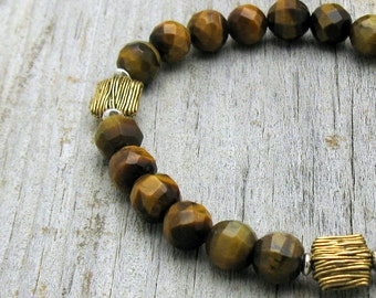Yellow Tiger Eye and Brass Beaded Bracelet, Mixed Metals Tiger Eye Stretch Bracelet, Unisex, For Her or Him Under 100