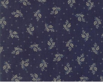 Fabric by the Yard- Liberty Gatherings- Branches in Blue-- by Primitive Gatherings for Moda