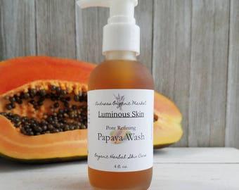 Organic Papaya Face Wash, Pore Refining Skin Firming Facial Wash, Organic Face Wash, Skin Lightening Soap, Natural Skin Care, Natural Soap
