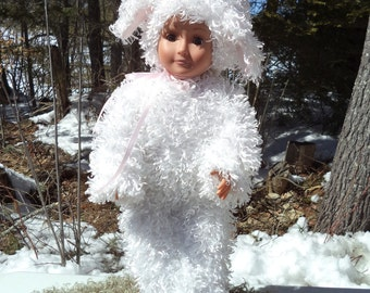 "18"" white Easter lamb doll costume, curly fur lamb costume and tail, black footed lamb costume, 2 piece doll costume, pink lined lamb ears"