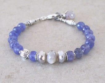 Tanzanite Moonstone Sterling Silver Bracelet Mystic Gray Moonstone DJStrang Blue Boho Chatoyant Chatoyance