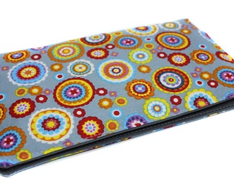 checkbook holder fabric man or woman fabric colorful gray, red, yellow