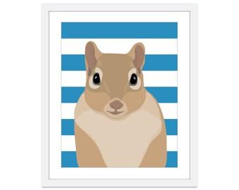 Squirrel Art Print - Squirrel Nursery Art - Woodland Nursery Decor - Blue Stripes - Forest Nursery Decor - Squirrel Illustration - Poster
