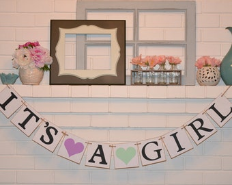 It's a Girl banner, baby shower banner, baby shower, heart, hearts, baby shower, its a girl, it's a girl, banner, purple green
