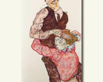 Bamboo Paper - Lovers 1914/1915 - Egon Schiele Print Schiele Poster Gift Idea  bp