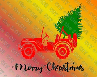 SVG Cut File Christmas Jeep Tree Instant Download