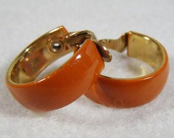 Vintage 60's Brown & Gold Hoop Clip On Earrings