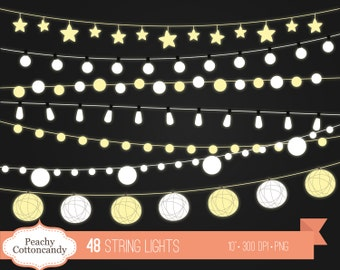 BUY 2 GET 1 FREE String Lights Clip Art - string light clip art - night wedding clipart - Commercial Use Ok