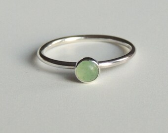 Green Aventurine Ring Sterling Silver Stacking Ring Green Stone Ring