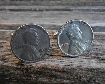 Steel Penny Cufflinks. Wedding, Groom, Groomsmen Gift, Valentine, Dad, Anniversary. Lucky, Coin.