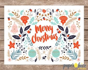 Merry christmas card / Holiday card set / Christmas card set / Christmas greeting cards / printed cards
