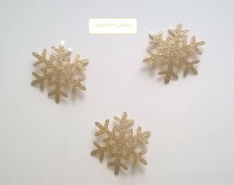 Applied fusing 3 star snowflake 5 CM clear glittery gold