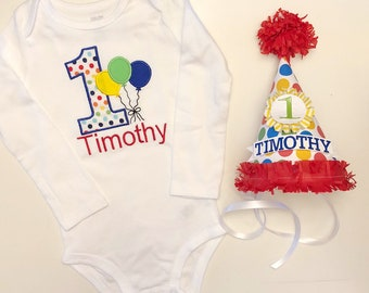 Balloon 1st Birthday Bodysuit and Hat Set, Personalized Party Hat, Balloon Birthday, Primary Colors, 1st Birthday Boy, Balloon Party