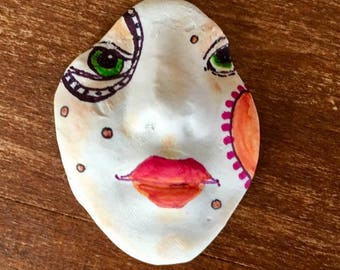 Handmade clay face  large oval   freckles  jewelry craft supplies  handmade cabochon oval face light weight polymer tile