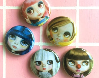 BLYTHE doll - button pin badges (5) set - illustrations