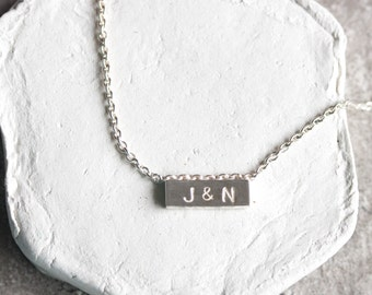 Initial necklace, personalized sterling silver necklace, delicate bar necklace
