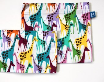 Reuseable Eco-Friendly Set of Snack and Sandwich Bags in Colorful Giraffes Fabric